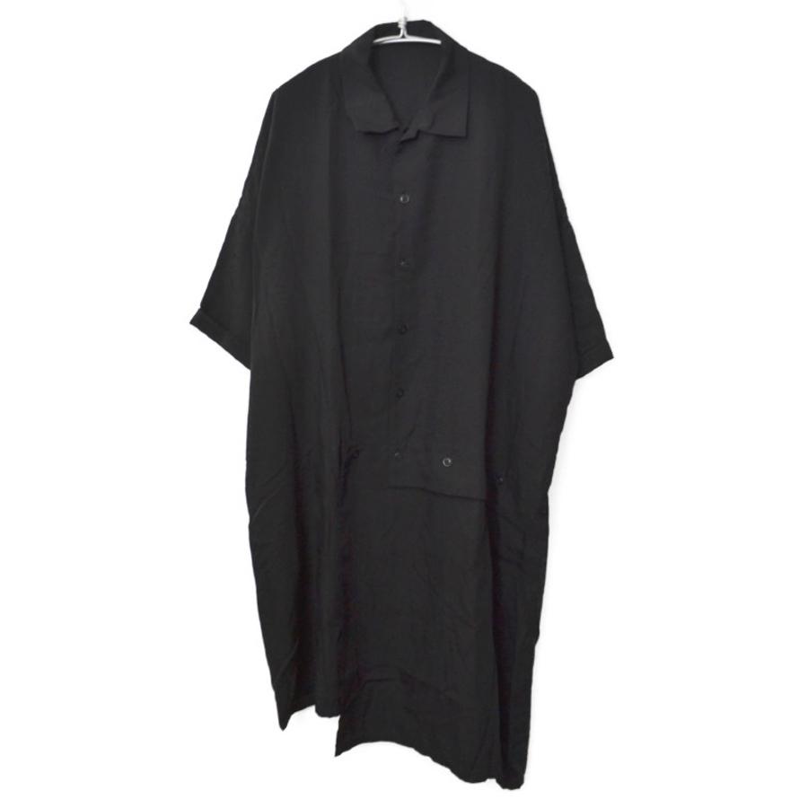 2020SS/テンセルポプリン 釦アシンメトリー 半袖 ドレス ワンピース