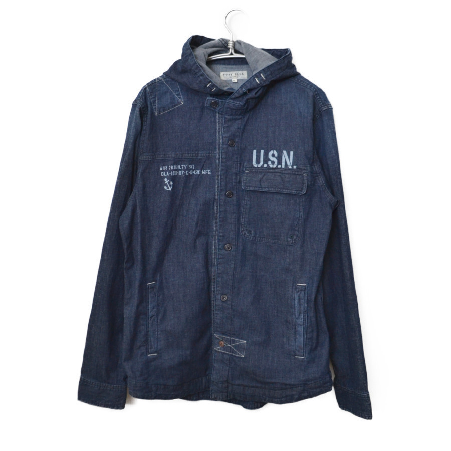TYPE BLUE NAVAL HOODED SHIRT デニム フード シャツ