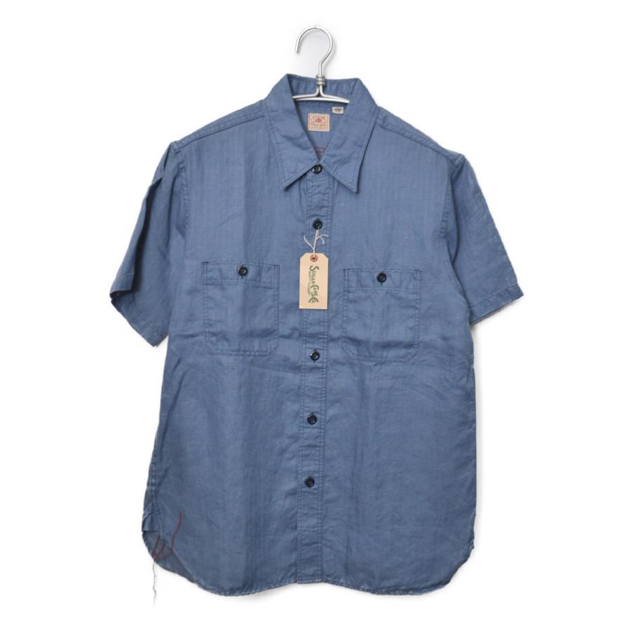 S/S WORK SHIRT リネン ヘリンボーン 半袖 ワークシャツ
