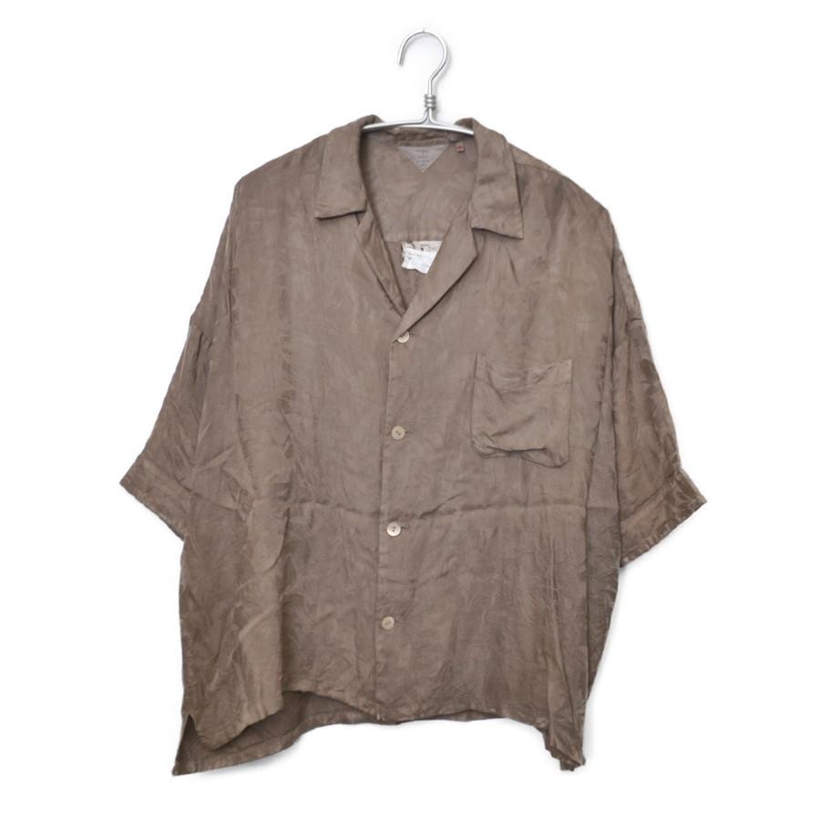 ジャガード オープンカラー 半袖 シャツ