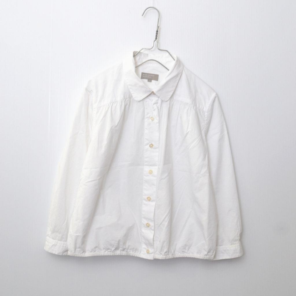 裾 ギャザー 長袖 シャツ