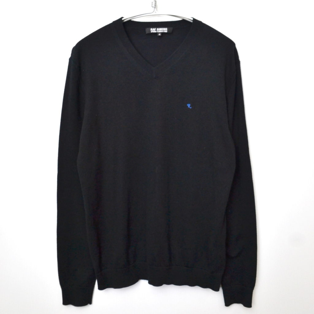 2008SS/ 胸刺繍 Vネックコットンニットセーター
