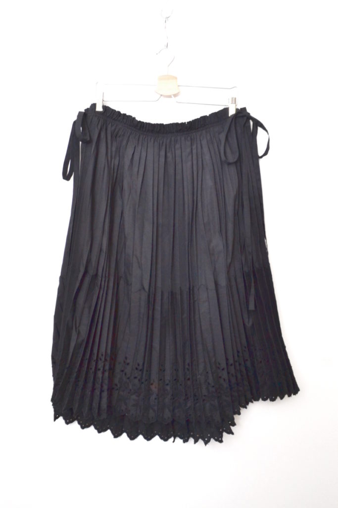 AD2001 02SS/Ethnic Couture カットワークレース プリーツ 2枚合わせスカート