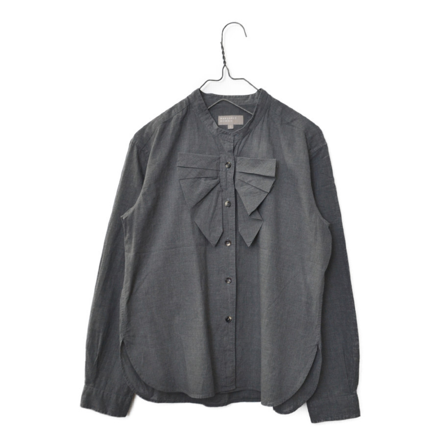 バンドカラー フリル リボン 長袖 シャツ