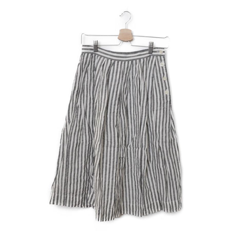 2017/ リネン ストライプ タック スカート