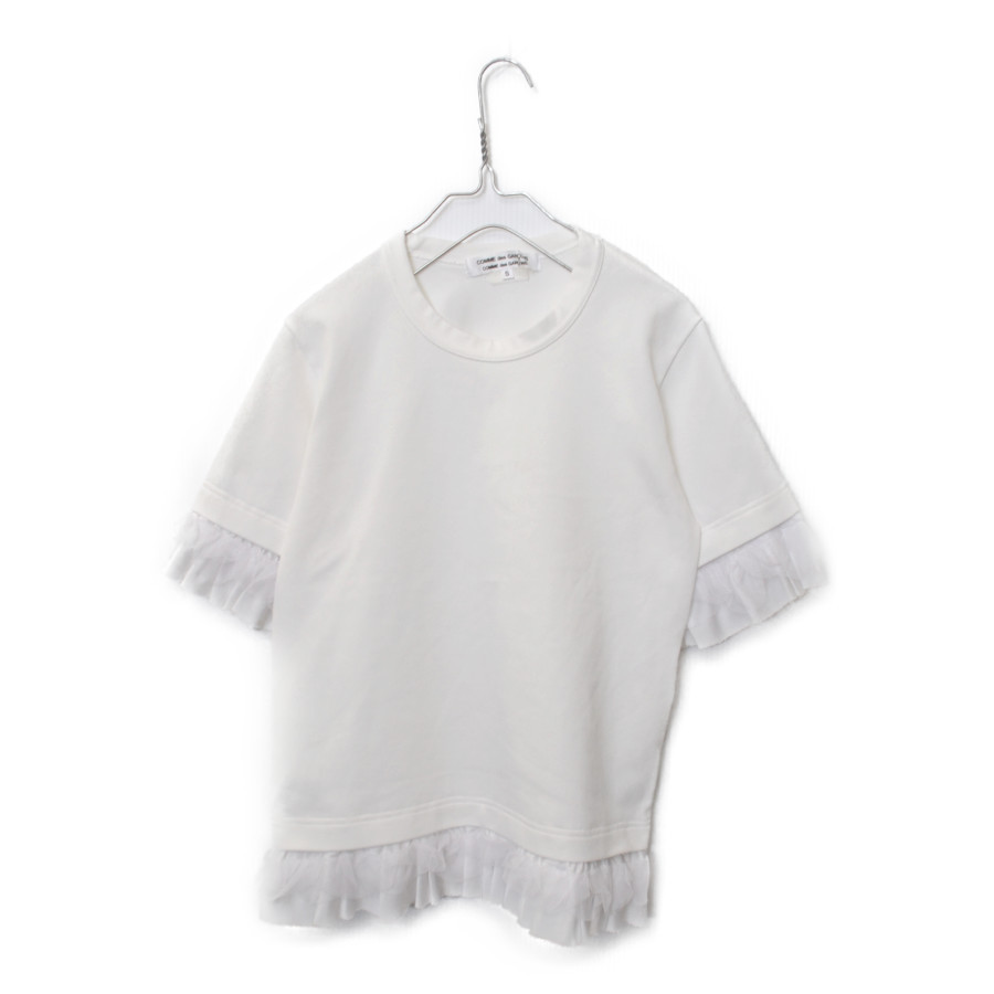 AD2007 08SS/ポリエステル縮絨 フリル Tシャツ